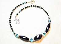 Crystal Swarovski Teal and Black Onyx Necklace