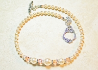 Cream Pearl and Peach Crystal Sterling Silver Necklace