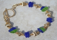 14K Gold Blue and Green Sea Glass Bracelet